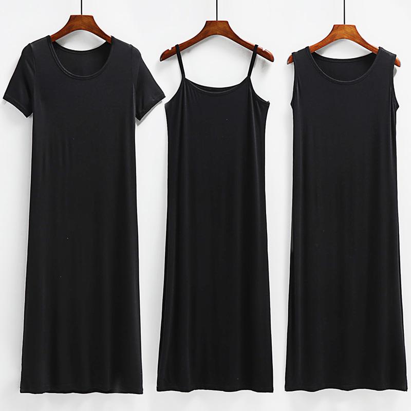 夏季莫代尔吊带连衣裙女内搭打底裙黑色背心长裙春秋短袖a字裙子