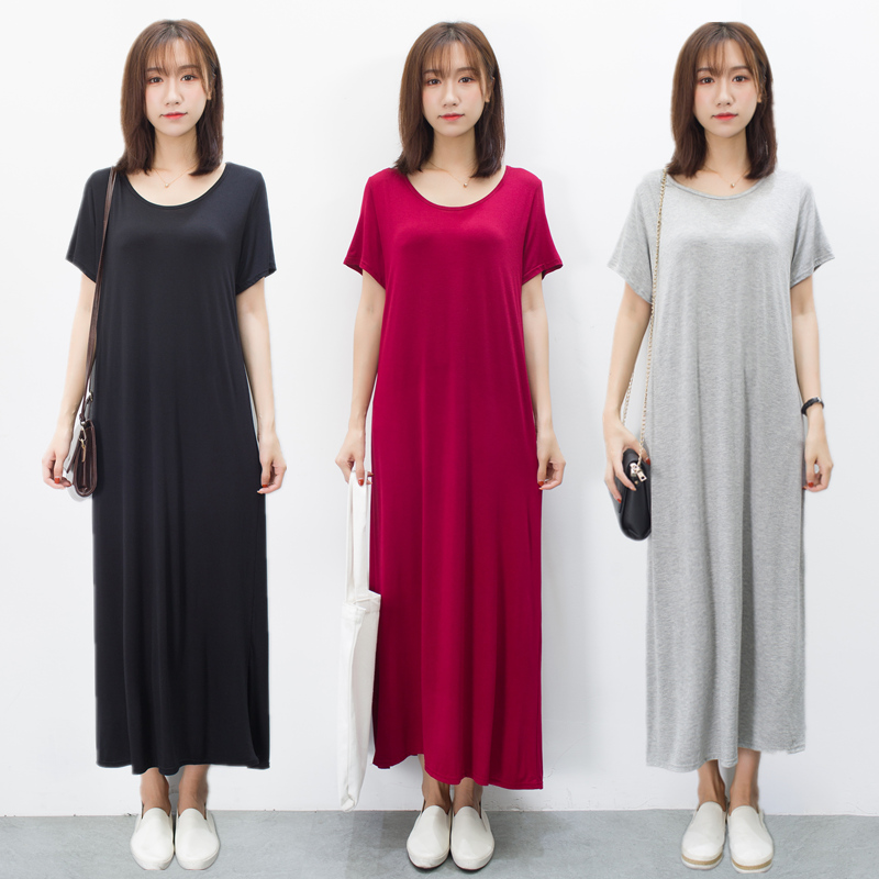连衣裙女夏中长款黑色短袖T恤长裙圆领莫代尔打底裙子显瘦a字裙