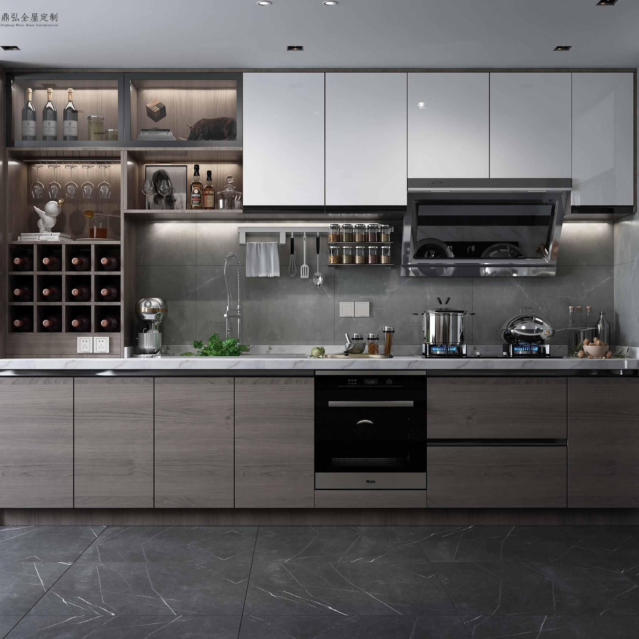 Hangzhou light luxury open kitchen overall solid wood cabinet design customization modern simple kitchen cabinet whole room customization