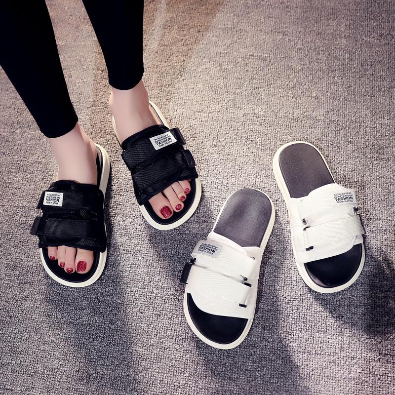 2019新款拖鞋女夏外穿时尚沙滩鞋海边网红厚底凉拖防滑一字拖百搭