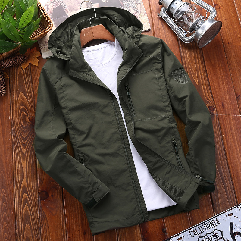 Mens 2019 new jacket spring and autumn Windbreaker Jacket Large Mens outdoor casual sportswear jacket