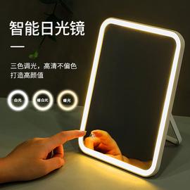 led帶燈化妝鏡便攜折疊隨身宿舍女學生梳妝美妝鏡臺式桌面小鏡子圖片