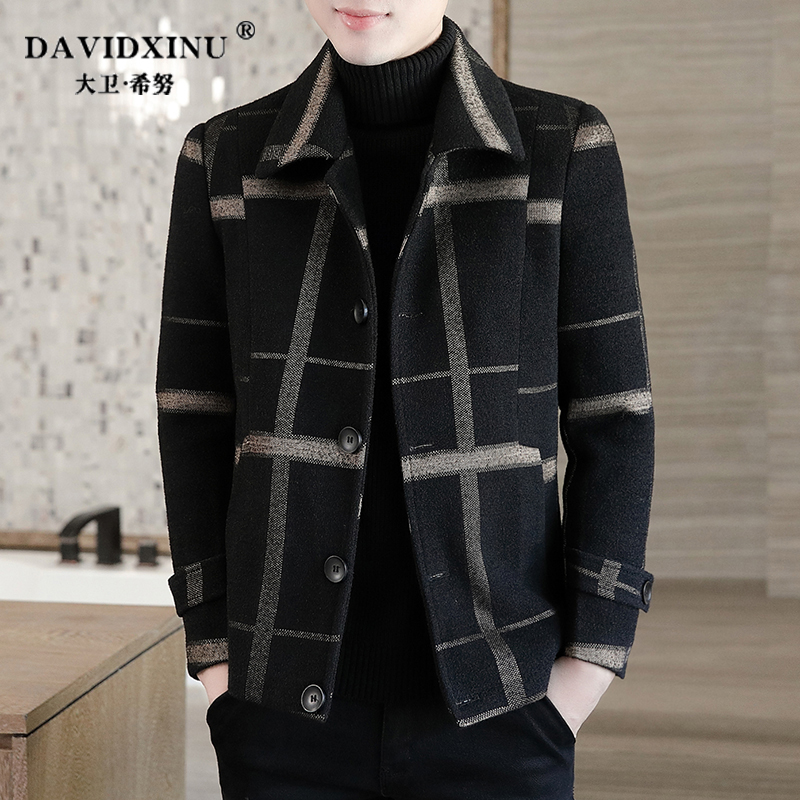 Autumn and winter jacket short woolen coat men's woolen coat thick mink plaid Korean windbreaker men's tide