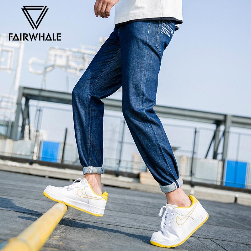 Mark Huafei jeans mens summer new mens slim fit fashion printing tide brand straight long pants u