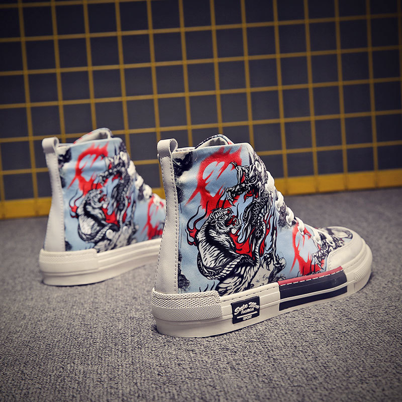 Guochao autumn new high top canvas shoes mens leisure outdoor sports printing animation Chinese style trend board shoes