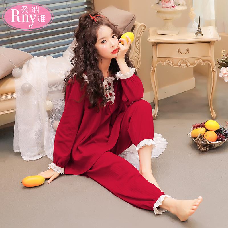 纯棉睡衣女春秋长袖薄款夏两件套装可爱公主风红色家居服全棉冬季