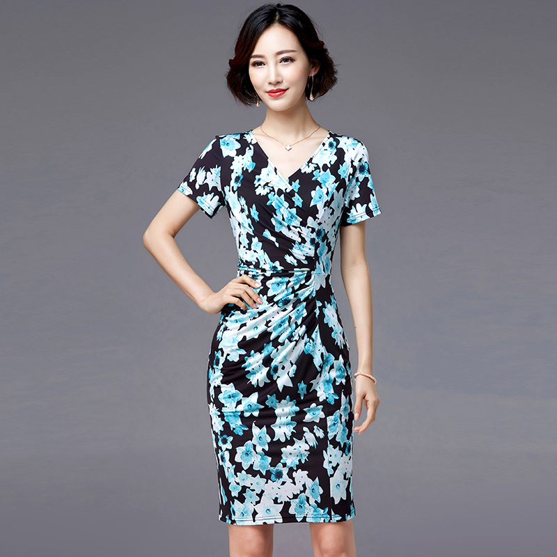 Dress summer middle-aged new womens V-neck knitted printing pleats cover small belly large mother dress