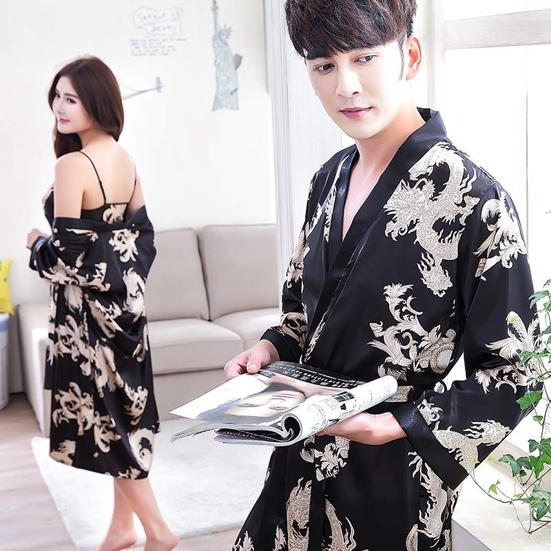 Boys lovely pajamas robes mens hot taste fashion couple sexy ultra thin girl love autumn and winter women