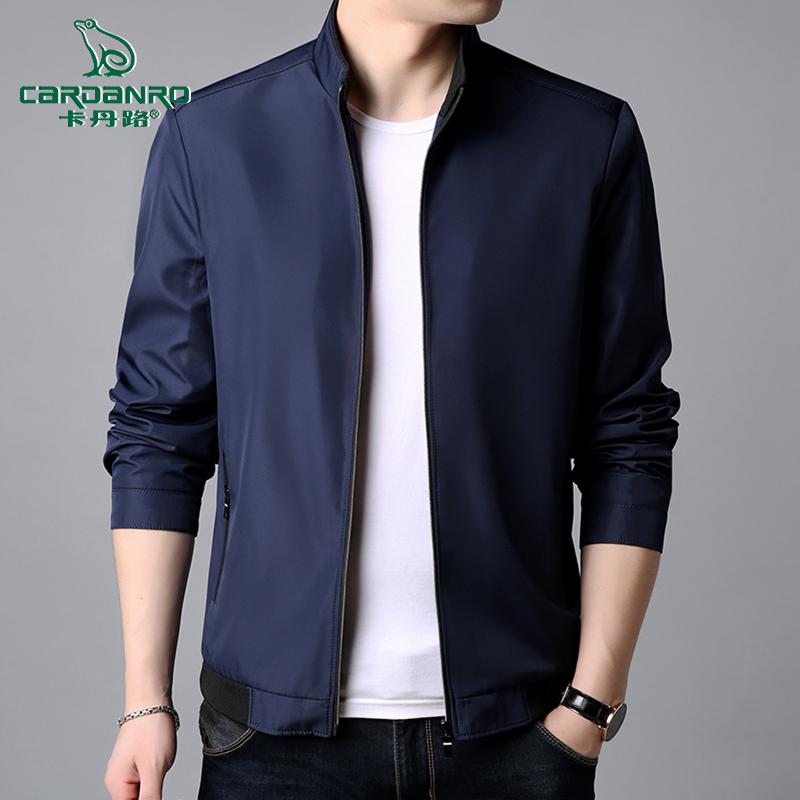 卡丹路青年装外套加绒加厚中年男装夹克中老年2019秋冬韩版上衣服