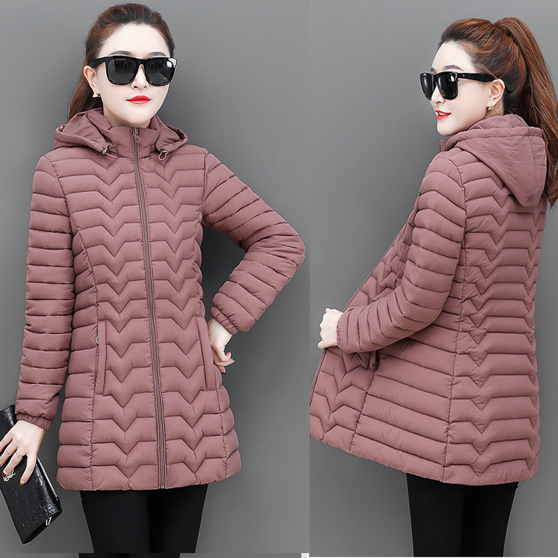 Cotton padded womens middle and long style autumn / winter 2020 Korean version light and large size, slim and versatile