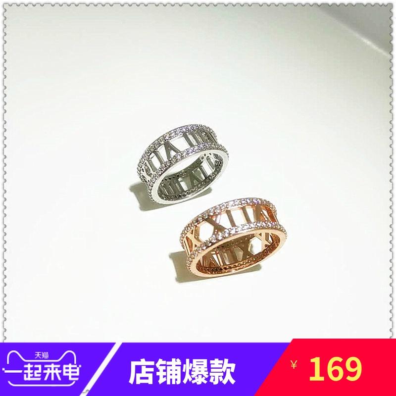 Korean style simple 925 pure silver Roman digital ring with diamond ring