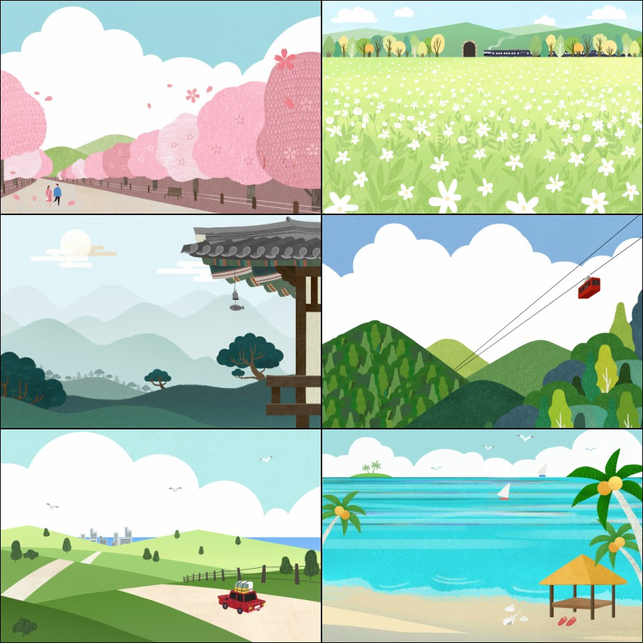 植物插图绿叶草地海报PSD花草树木素材文艺旅游手绘设计插画旅行