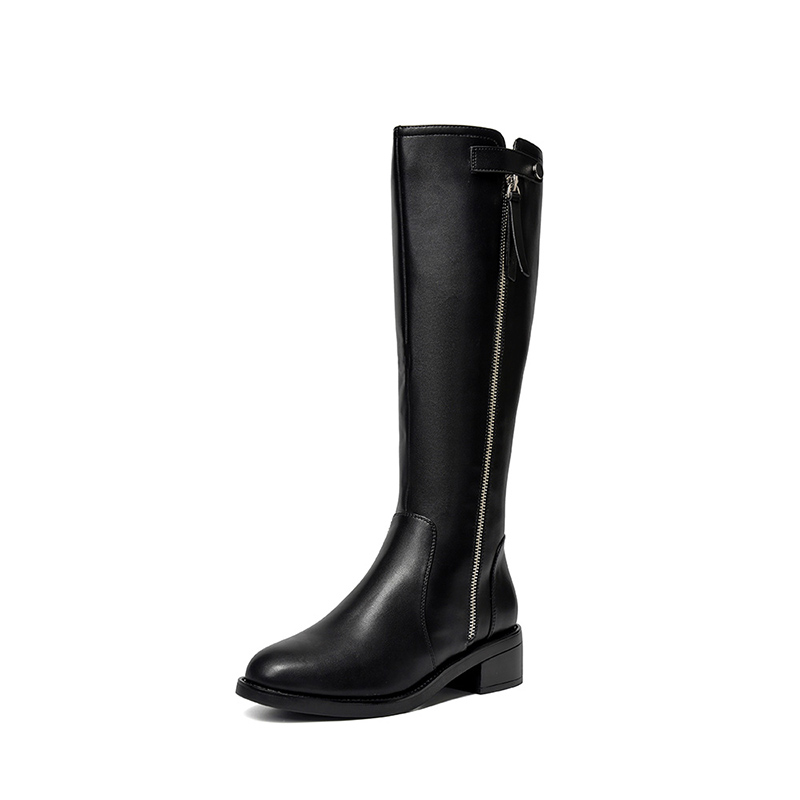 Zhuo Shini boots winter plus velvet high-tube white high-heeled knight long-tube boots women 2020 new style but the knee is thin