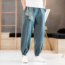 中国风唐装男裤子复古中式刺绣休闲裤男装束脚裤大码宽松小脚长裤