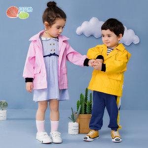 贝贝怡男女童保暖外套2019新款洋气休闲防风雨衣风衣上衣191S2016