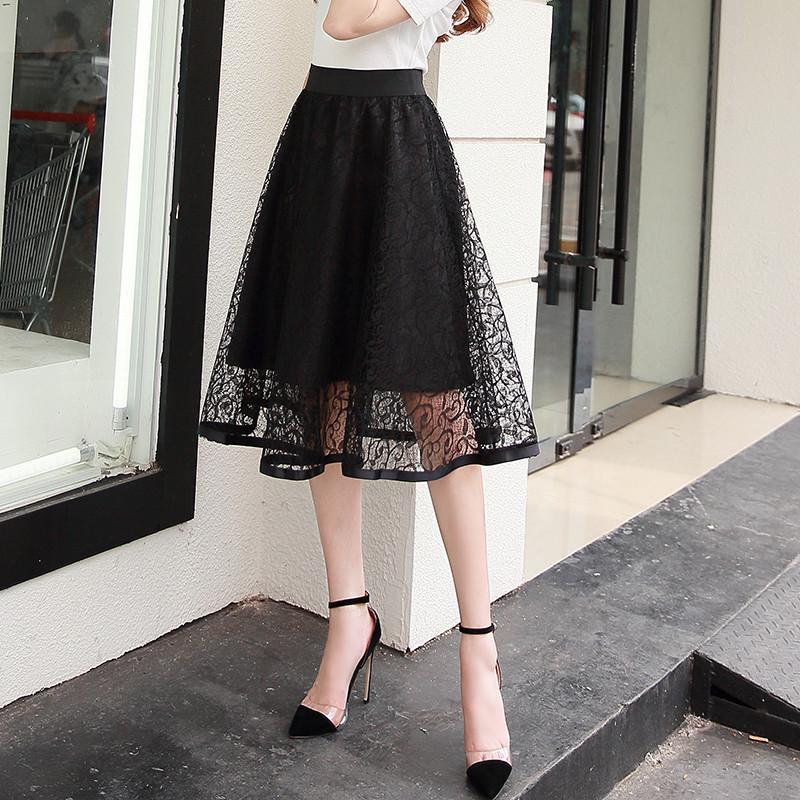 2019春夏新款半身裙女钩花镂空蕾丝a字裙中长款网纱裙高腰蓬蓬裙