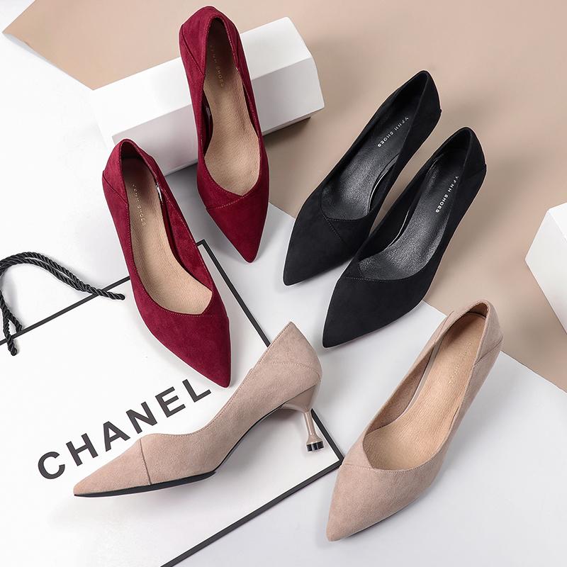 酒红色高跟鞋女细跟2019秋季新款黑色绒面尖头中跟5cm猫跟女单鞋