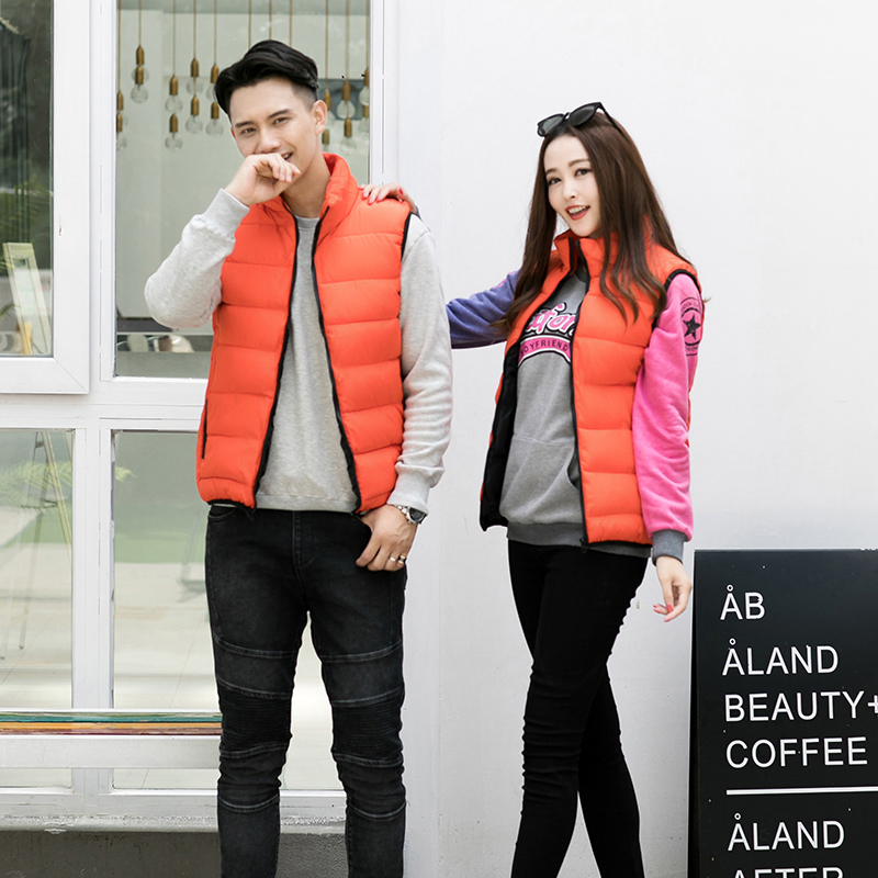 Down cotton vest men and women autumn and winter thickened Hooded Vest casual couple coat Korean fashion vest shoulder