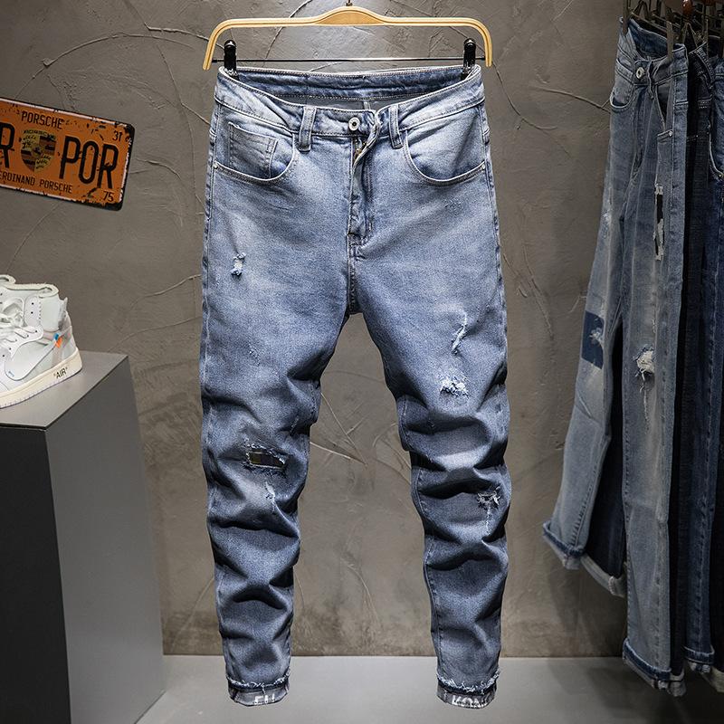 Hemmed jeans mens jeans slim fit stretch slim hole mens pants