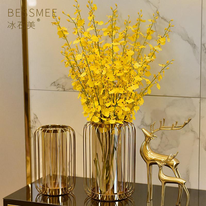 美式玻璃花瓶摆件轻奢风格客厅餐桌玄关电视柜后现代家居软装饰品