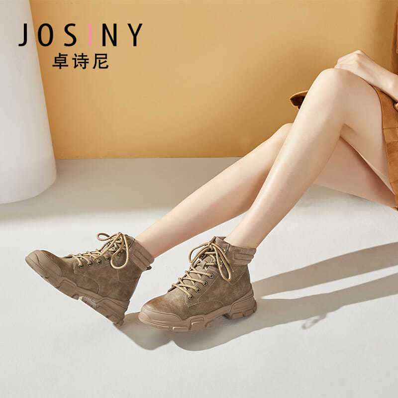 Drowsny genuine womens short boots winter Plush thick Martin boots autumn and winter new womens shoes flat heel