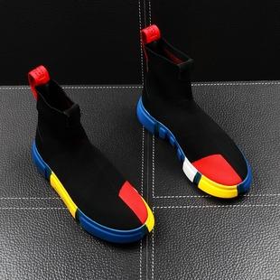 套脚针织袜子鞋 嘻哈潮流男鞋 青年短靴增高 韩版 新款 男士 秋季 高帮鞋