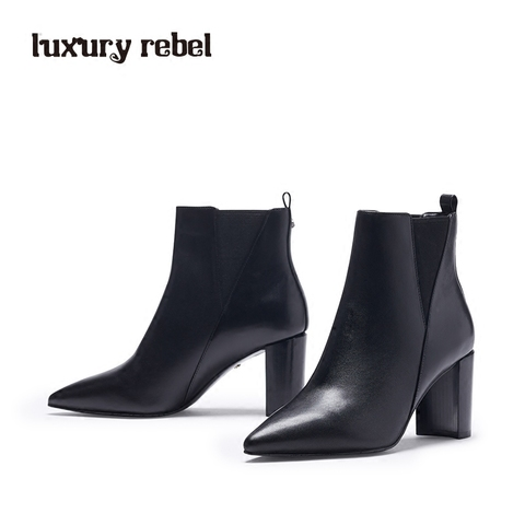 LR女靴Luxury Rebel 2017冬季新款中高跟短靴踝靴切尔西靴棉靴