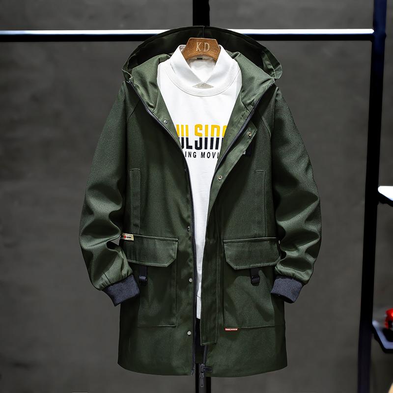 外套男士秋冬季薄款2020新款韩版潮春装机能夹克上衣服中长款风衣图片