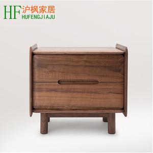 北欧纯实木黑胡桃床头柜简约现代橡木住宅卧室储物柜木质家具包邮