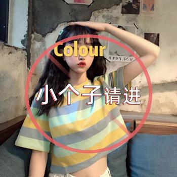 小个子T恤女上衣宽松泫雅风彩虹条纹短袖心机小众ins短款高腰露脐