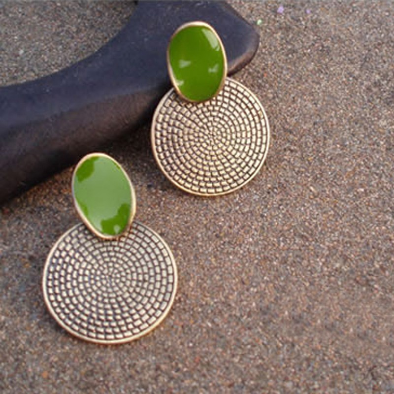 1 Pair Vintage Semi-Precious Stone Big Drop Green Round Earr