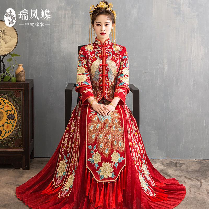秀禾服新娘2019新款结婚出阁服中式礼服秀和服女龙凤孕妇大码秀禾