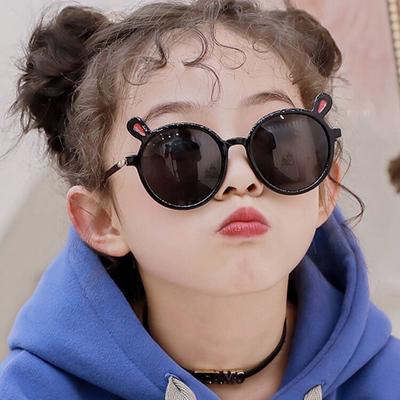 小兔子儿童太阳镜2020新款宝宝墨镜兔耳朵潮男孩女童个性防紫外线