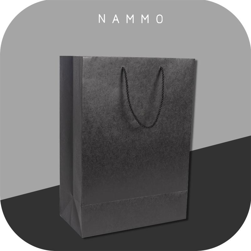 「超大长方纸袋」配套大号长方礼盒 简约纯黑色牛皮纸袋 对折发出