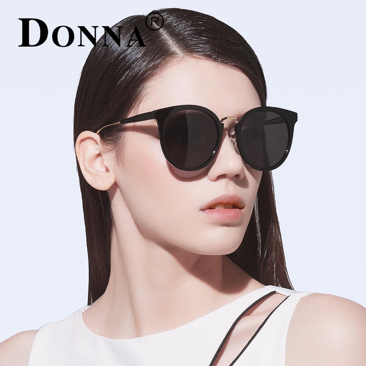 DONNA哆哪新款 经典圆框时尚墨镜 优雅圆框黑超偏光太阳镜 D86