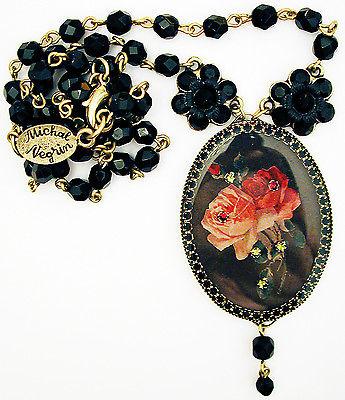 代购Michal Negrin哥特式玫瑰浮雕黑色水晶珠子项链女复古甜美