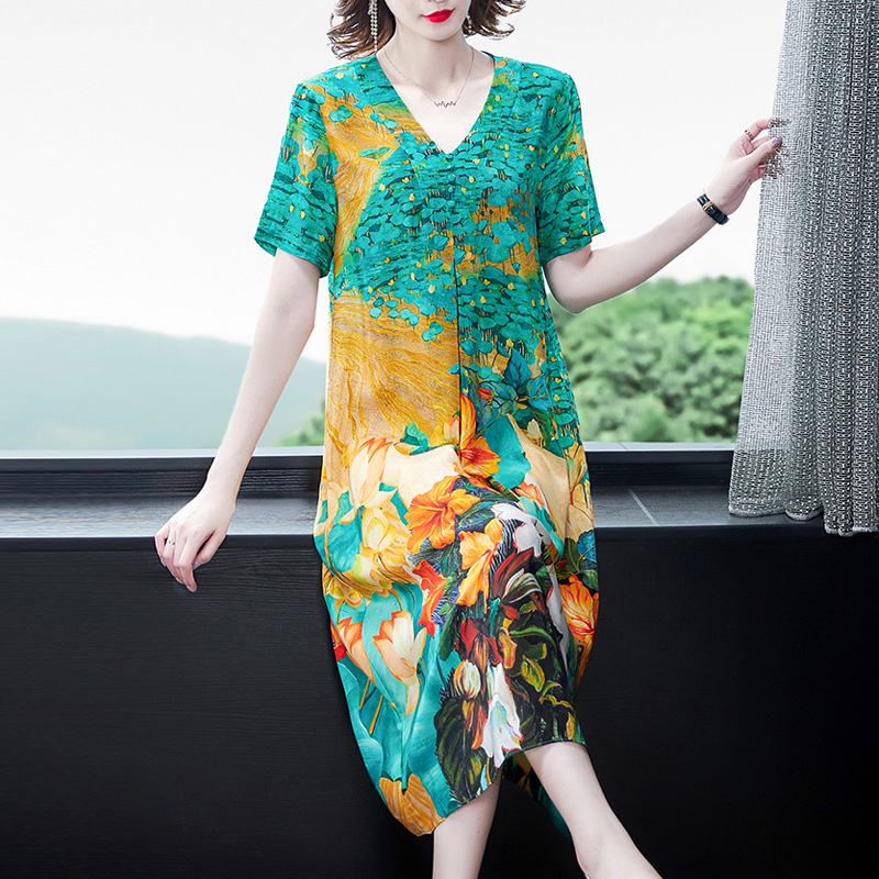 真丝桑蚕丝连衣裙2021夏季女装新款贵夫人重磅香云纱裙子中长杭州