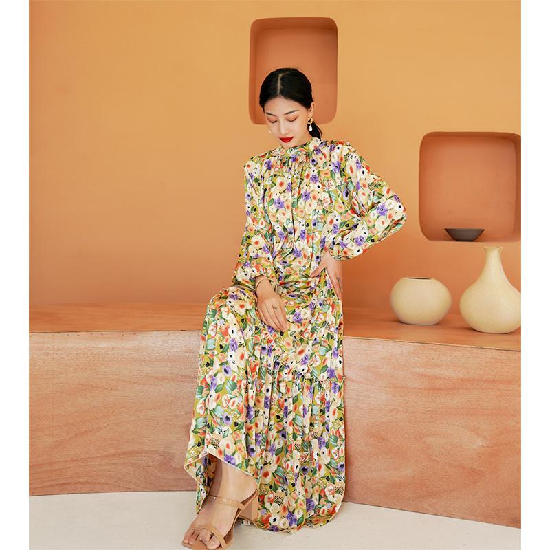 春款女装2021年新款泡泡袖碎花连衣裙显瘦大摆裙洋气长裙气质
