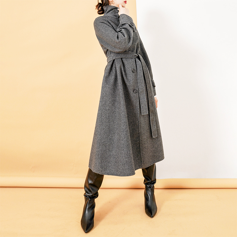 Wool coat womens middle and long lace up new double-sided cloth cloak in winter 2020 wool coat temperament