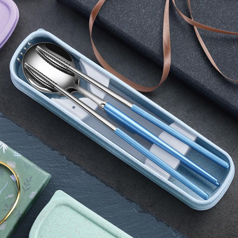 抗菌不锈钢餐具一人食筷子勺子单人装便携餐具三件套筷子盒套装