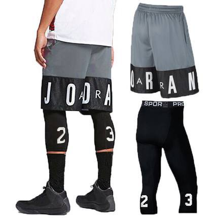 Owen Kobe 23 Jordan Basketball Training Shorts tight Capris two piece set for leisure and fitness