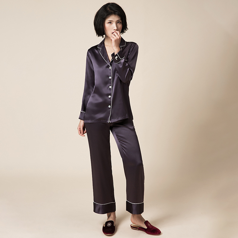 Lalas peach silk pajamas womens two piece set of mulberry silk split shirt type household suit can be worn out in winter