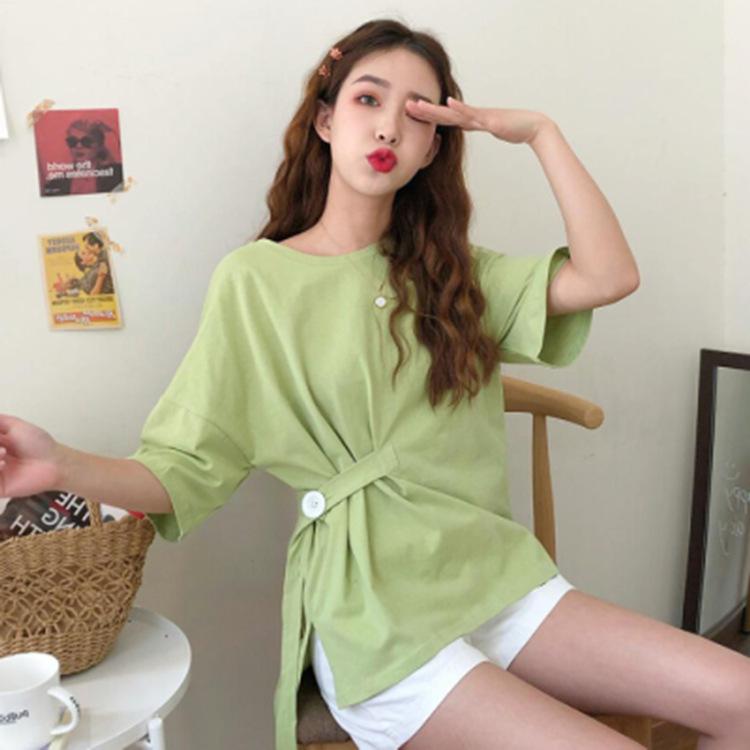 Avocado Green Solid T-shirt womens loose medium length 2020 summer Korean irregular short sleeve top ins womens wear