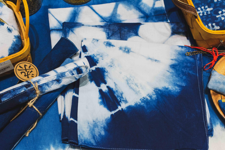 杂物蓝染手作 手工扎染小方巾 植物草木染手帕头巾茶巾 现货成品