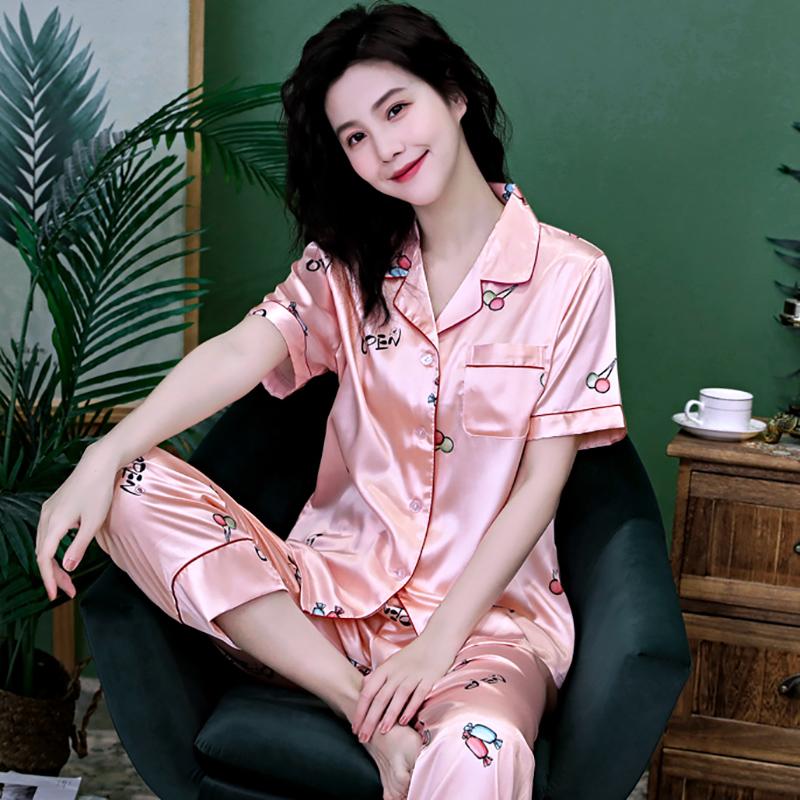 女士春夏季短袖长裤冰丝睡衣女夏薄款家居服丝绸开衫大码两件套装