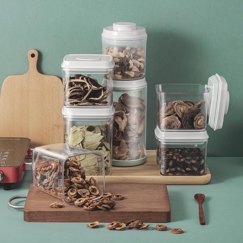 安扣厨房香料杂粮干果仓鼠零食防潮塑料密封罐盒食品级收纳罐玻璃9.9元