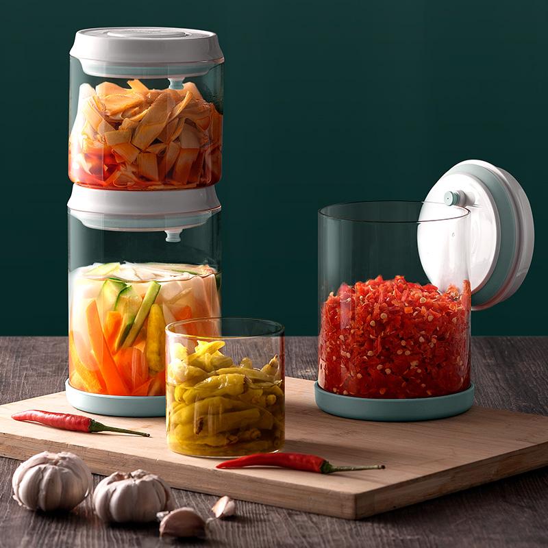 安扣泡菜腌菜咸菜罐玻璃密封罐蜂蜜柠檬百香果密封罐储物罐防潮