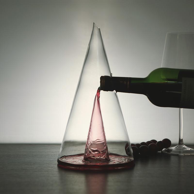 快速瀑布醒酒器分酒器家用手工玻璃红葡萄酒北欧风艺术创意彩盒装
