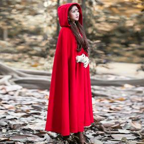 无心法师岳绮罗同款大红色斗篷毛呢大衣女外套复古小红帽披风秋冬