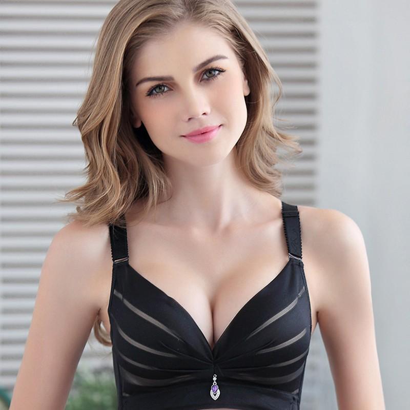 古炫新款性感条纹少女内衣无钢圈bra小胸罩厚聚拢调整型文胸